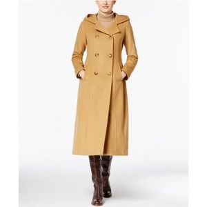hooded wool-blend double-breasted maxi coat